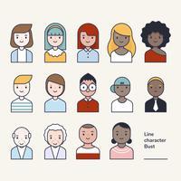 Una serie di personaggi avatar stile contorno. vettore