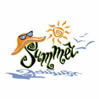 Estate. Lettering. Saluto. Sole, gabbiani. Cappello da sole e occhiali da sole. Concetto di design per il turismo. Vettore.