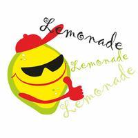Limonata. Lettering. Cartoon Lemon Man ti invita a bere una fantastica bibita fresca. vettore.