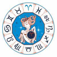 Segno zodiacale Ariete come una bella ragazza. Oroscopo. Astrologia. Vincitore. vettore