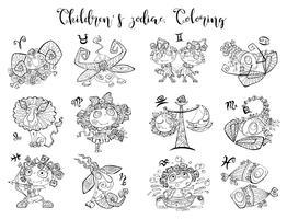 Segni zodiacali per bambini. Colorazione. Illustrazione vettoriale