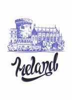 Irlanda. Inspiring lettering e sketch del castello di Dublino. Concetto di pubblicità per l'industria del turismo. Viaggio. Vettore. vettore