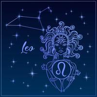 Segno zodiacale Leone una bella ragazza. La costellazione del Leone. Cielo notturno. Oroscopo. Astrologia. Vettore.