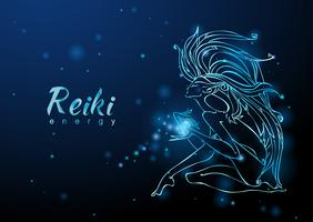 L'energia del Reiki. La ragazza con il flusso di energia. Meditazione. Medicina alternativa. Esoterico. Vettore