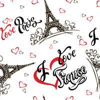 Modello senza soluzione di continuità Amo Parigi. Amo la Francia. Lettering elegante. Cuori. Torre Eiffel. Schizzo. Sfondo bianco. Vincitore