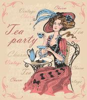 Signora d'annata in un cappello che beve tè. Signora in crinolina. Tea party. Fascino. Vintage ▾. Iscrizioni. È ora di bere il tè. Vettore