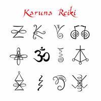 Karuna Reiki. Simboli. Energia di guarigione Medicina alternativa. Vettore.