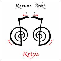 Karuna Reiki. Guarigione energetica. Medicina alternativa. Simbolo Kriya. Pratica spirituale Esoterico. Vettore