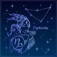 Segno zodiacale Capricorno una bella ragazza. La costellazione del Capricorno. Cielo notturno. Oroscopo. Astrologia. Vettore.