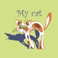 Gatto allegro con macchie rosse sulla pelliccia. Cartone animato. Il mio gatto. Iscrizione. Sfondo verde. Vettore.
