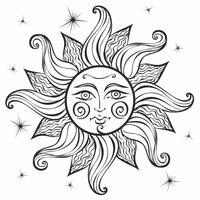 Sole. Stile vintage. Astrologia. Etnica. Pagano. Stile Boho. Colorazione. Vettore.