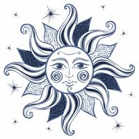 Sole. Stile vintage. Astrologia. Etnica. Pagano. Stile Boho. Vettore. vettore