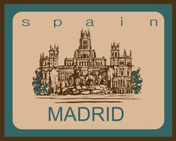 Viaggio. viaggio in Spagna. Città di Madrid. Schizzo. Palazzo di Cibele e fontana a Plaza Cibeles a Madrid, in Spagna. Concetto di design per l'industria del turismo. Illustrazione vettoriale