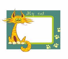 Cornice. Il mio gatto. Iscrizione. Gatto divertente cartone animato rosso. Illustrazione vettoriale