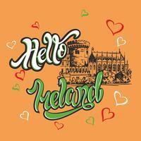 Ciao Irlanda. Lettering ispiratore. Saluto. Schizzo del castello di Dublino. Invito a viaggiare in Irlanda. Industria del turismo. Vettore.
