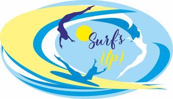 Surf up. Surf. Lettering. È tempo di riposare e viaggiare. Paesaggio marino. Onda. Gabbiani. Illustrazione vettoriale