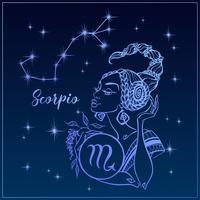 Segno zodiacale Scorpione come una bella ragazza. La costellazione dello scorpione. Cielo notturno. Oroscopo. Astrologia. Vettore. vettore