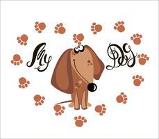 Il mio cane . Lettering. Bassotto. Le tracce del cane. Cuore. Illustrazione vettoriale