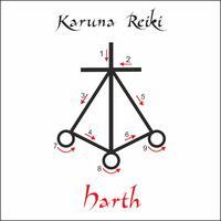 Karuna Reiki. Guarigione energetica. Medicina alternativa. Simbolo di Harth. Pratica spirituale Esoterico. Vettore
