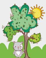 Il gatto nella foresta scarabocchia i cartoni animati vettore