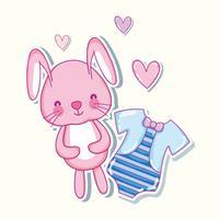 Cartoni animati cuori coniglietti e camicia carino vettore