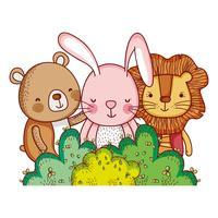 Gli animali nella foresta scarabocchiano i cartoni animati vettore