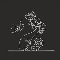 Gatto. Disegno continuo. Gattino divertente Lettering. Sfondo nero. L'effetto della lavagna. Vettore.