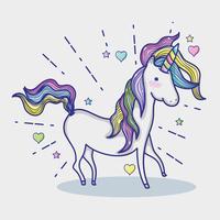 Magico e fantastico cartone animato unicorno carino