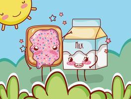 Cialda e contenitore del latte sul fumetto di kawaii di giorno soleggiato