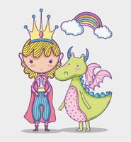 Fumetto di disegno della mano della piccola principessa del mondo magico vettore