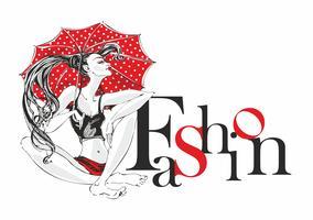 Industria della moda. Ragazza modello con ombrello in posa. Moda. Iscrizione decorativa Donna modello di bellezza Vettore.