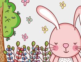 Coniglietto nel fumetto di doodle della foresta vettore