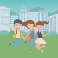 Progettazione di cartoni animati di ragazzo e ragazze adolescente vettore