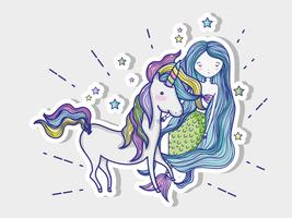 Sirenetta con un cartone animato di unicorno vettore
