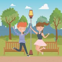Progettazione di cartoni animati di ragazzo e ragazza adolescente vettore