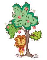 Leone nel cartone animato carino albero vettore