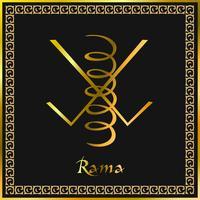 Karuna Reiki. Guarigione energetica. Medicina alternativa. Simbolo Rama. Pratica spirituale Esoterico. D'oro. Vettore