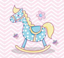 Cartone animato carino cavallo di legno vettore