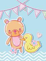 Simpatico orso e cartoni ducky