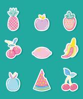 Raccolta di frutti pastelli punchy