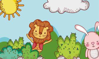 Il leone e il coniglietto svegli in foresta scarabocchiano i cartoni animati vettore