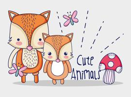 simpatici volpi doodles cartone animato vettore