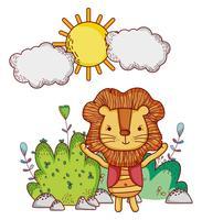 Il leone nella foresta scarabocchia i cartoni animati vettore