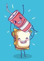 Panino con cartone animato soda kawaii