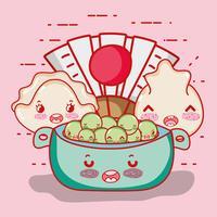 Cartone animato kawaii carino cibo giapponese