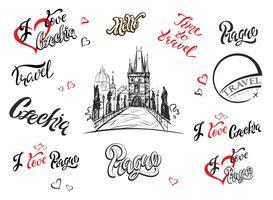 Repubblica Ceca. Set di elementi per il design. Praga. Lettering ispiratore. Schizzo del ponte Carlo Disegno a mano Viaggio. Industria del turismo. Vettore.