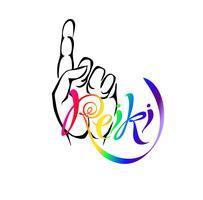 Energia Reiki. Logotype. Energia di guarigione Medicina alternativa. Pratica spirituale Vettore. vettore