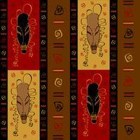 Modello senza cuciture con maschere tribali africane. Ornamento etnico Vettore.