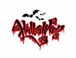 Halloween. Scheda di tutti i santi. Magia magica lettering con gocce minacciose che scorre verso il basso. Bat. Vettore.