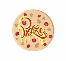 Pizza. Logo lettering decorativo. Deliziosa cartolina con formaggio fuso e iscrizione ketchup. Vettore.